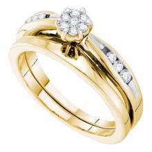 14KT Yellow Gold 0.25CT DIAMOND FLOWER BRIDAL SET #64557v2