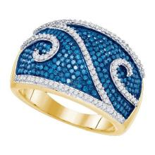 10K Yellow-gold 1.00CTW BLUE DIAMOND FASHION BAND #66049v2