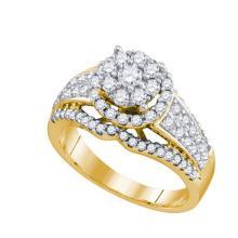 10K Yellow-gold 1.03CT DIAMOND FLOWER RING #64527v2