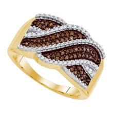 10KT Yellow Gold 0.35CTW COGNAC DIAMOND MICRO-PAVE RING #50409v2