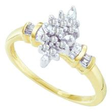10K Yellow-gold 0.15CT DIAMOND CLUSTER LADIES RING #63869v2