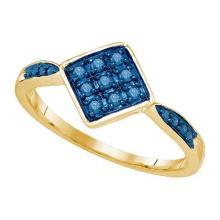 10K Yellow-gold 0.20CT BLUE DIAMOND FASHION RING #66060v2