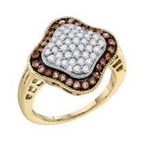 10KT Yellow Gold 1.00CTW COGNAC DIAMOND LADIES FASHION RING #50568v2