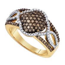 10KT Yellow Gold 0.63CTW COGNAC DIAMOND FASHION RING #50771v2