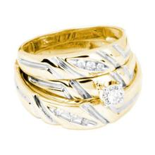 10K Yellow-gold 0.15CTW DIAMOND ROUND CENTER TRIO SET #64892v2