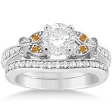 Butterfly Diamond and Citrine Bridal Set Platinum (0.42ct) #67930v3