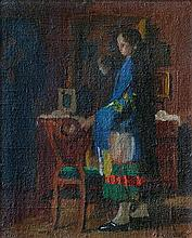 Béla Endre (Hungarian, 1870-1928), Girl by a mirror