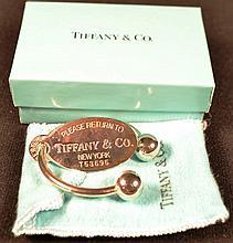 Tiffany & Co. sterling silver key chain, original felt bag and box, 0.71ozt