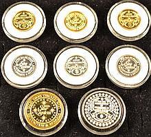 Eight .999 fine silver Avon award medals, 2.5ozt total weight