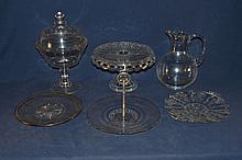 Six pieces clear glass tablewares