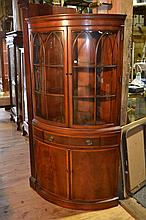 Mahogany Fancher Furniture bow front corner cupboard