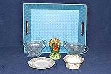 Collection of miscellaneous tablewares and blue tray