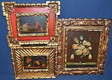 Three framed oil paintings on board, still lifes