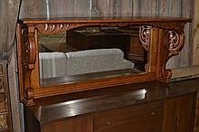 Large oak mirrored backsplash for sideboard