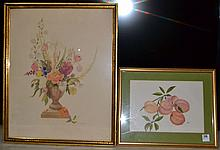 Two framed watercolors on paper