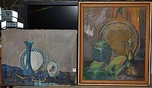 Two oils on canvas, still lifes