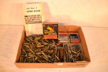 Miscellaneous ammunition incl. 45-70, 44mag, etc.; empty casings, shot shell box and cartridge catalogue