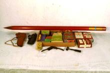 Monark & Climax vintage shotgun shells; WWII era Japanese cigarettes; 2  holsters; Vintacge BBs; powder tins, primers, bullets, shot, mold, measure, etc.