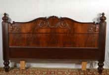 Carved mahogany queen size footboard converted to headboard