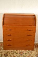 Scan teakwood roll top desk, 35