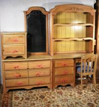 Circa 1900 pine BR suite: desk with hutch and chair, dresser with mirror, night stand