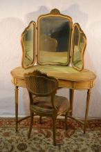 French painted kidney shaped vanity with 3 part mirror and damaged chair