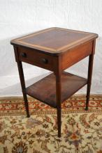 Walnut and maple banded single drawer work table with shelf below