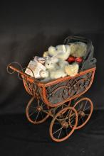 dolls carriage with 3 stuffed aminals