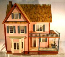 Large wood doll house with low voltage wiring