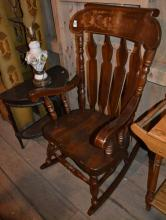 Pine stenciled rocking chair, lamp table and floral lamp