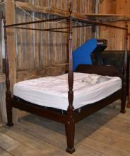 Thomasville carved mahogany queen size poster bed with Sleep Number foundation