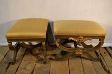 Pair of Robb & Stucky gilt decorated wood frame upholstered benches