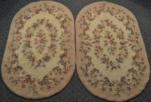 Two approx 3'x5' oval hook rugs