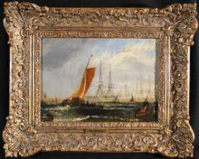 Ships at Anchor, Oil on Canvas Frame bearing the name M. Knell, Relined and possibly cut, 8