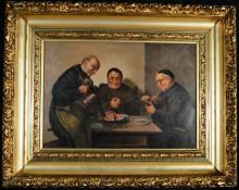 Two Priests being served a meal, Oil on Canvas, 14