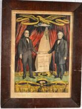 Three framed Currier & Ives prints: Grand National Union Banner for 1860, Two entitled The Flower Vase