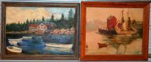 Two large oils on canvas, harbor scene and lakeside cottage