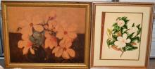 Two framed works:  Watercolor on paper magnolia blossoms, floral print