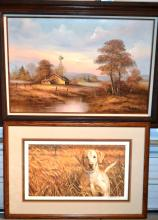 Two works:  A Friend In the Field, a print by Stephen Hamrick; oil on canvas farm landscape signed Bennett