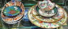 6 Asian porcelain dishes, 2 cloisonne dishes