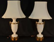 Pair of brass and white glass table lamps