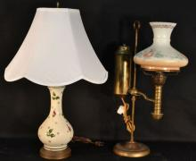 Early brass bankers lamp, pottery lamp