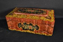 Wooden floral decorated document box