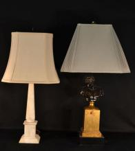 Two table lamps: marble, figural