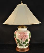 Large floral decorated pottery lamp