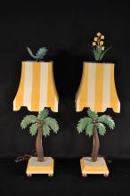Pair of painted metal palm tree decorated table lamps