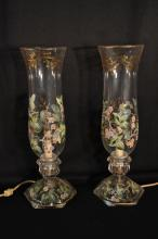 Pair of enamel decorated glass table lamps