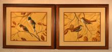 Songbirds, Two framed watercolors on paper by D. Nicholson Miller, 16