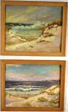 Ocean seascapes two framed oils on panel, one signed W.Corkran