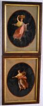 Two late 19th century oils on paper allegorical figures
